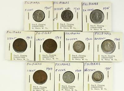 Vintage Estate COIN 10PC Lot Filipinas Philippines 1903-1945 WWII US Occupation