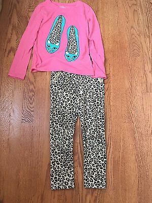 Cherokee girls leopard print pink shoes top and leggings size M 7/8 GUC