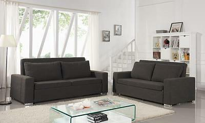 Renoir 2 Or 3 Seater Pull Out Fabric Sofa Bed in Charcoal & Cream