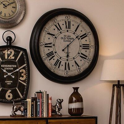 93cm Round Iron Wall Clock Large Vintage Shabby Chic Glass Time Mechanism
