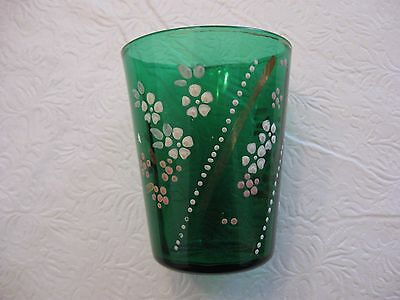 Vintage Enamel Painted Drinking Glass~ Dk. Green
