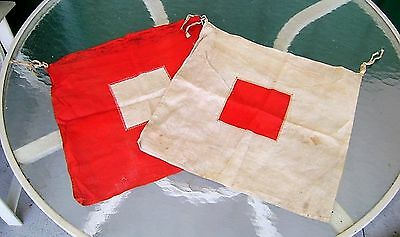 Vintage Pair Hand Held Semaphore Signal Flags - Red And White Square