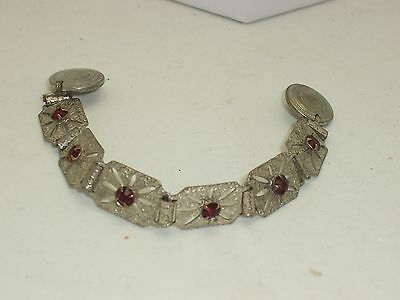Vintage Art Deco Sweater Guard Metal Links With Red Rhinestones