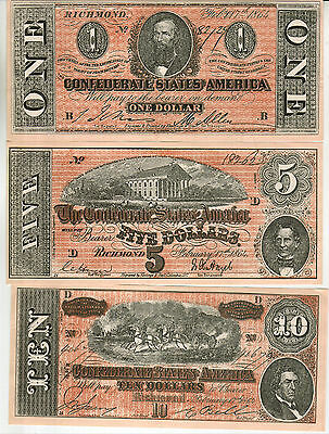 Set Of 6 Different Confederate Currency Copies