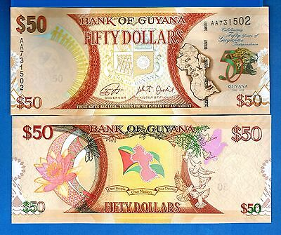 Guyana P-New Fifty Dollars Year 2016 Uncirculated Banknote South America