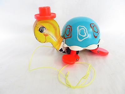 Vtg Fisher Price 1962 Pull Toy Tip Toe Turtle #773 Operates Well #4983