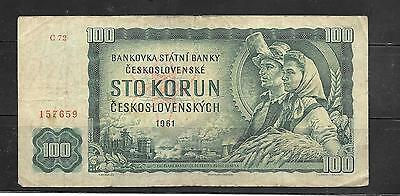 CZECHOSLOVAKIA #91a 1961 100 KORUN VG CIRCULATED OLD BANKNOTE NOTE PAPER MONEY
