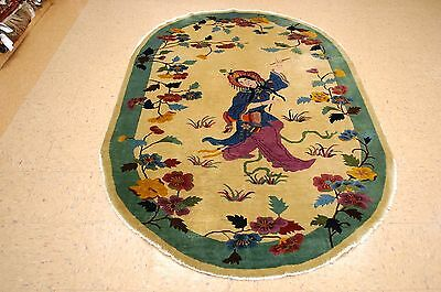 Circa 1920s ANTIQUE ART DECO OVAL CHINESE WALTER NICHOLS PICTORIAL RUG 5x7.10