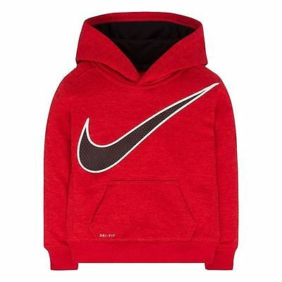 NIKE Boys Therma-FIT Fleece Space-Dyed Hoodie **GRAY HEATHER//TOTAL ORANGE** NWT