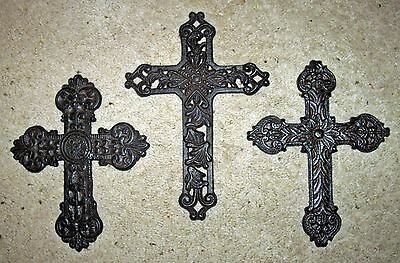 Set Of 3 CAST IRON  ARCHITECTURAL WALL CROSSES