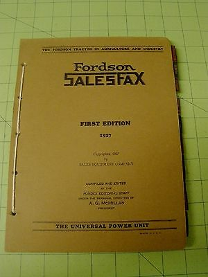 1927 Fordson Tractor dealer sales book 1st edition.