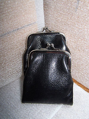 Black Genuine Leather Woman Dual Clasp Change Coin Purse