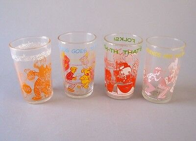 Lot Of 4 Vintage Drinking Juice Glasses Howdy Doody Archie Bugs Bunny Welchs