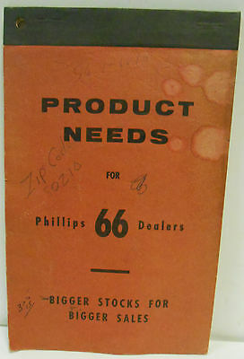 Phillips 66 Service Gas Station Dealers Stock Order Note Book Product Needs NR