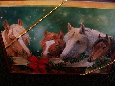 Leanin Tree Horses By Fence Christmas Card Set New !
