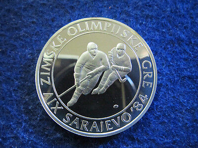 1982 Yugoslavia Gem Silver Proof 100 Dinara - Ice Hockey - Free U S Shipping