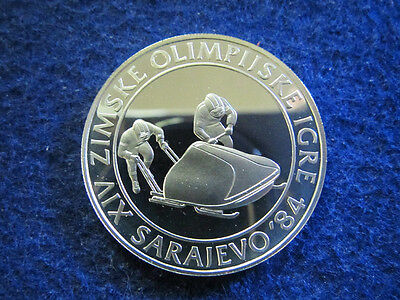 1983 Yugoslavia Gem Silver Proof 100 Dinara - Bobsledding - Free U S Shipping