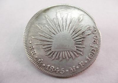 1845 Mexico MO MF 8 Reales Silver Coin Currency