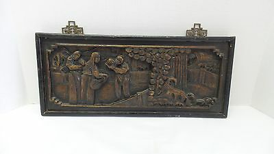Vintage/Antique Chinese Carved Wood Scene Hanging Wall Plaque CHINA