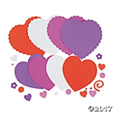 """SET OF 200 HEART FOAM SHAPES 1/2"""" to 2"""" HEARTS GALORE VALENTINE CRAFTS LOVE"""