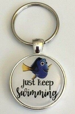 "Keychain Just Keep Swimming 1"" Inspire Inspirational"