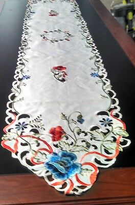 Cut Work+ Embroidered Runner/Dresser Scarf  Vivid Blue+Red Poppies Red Ribbon