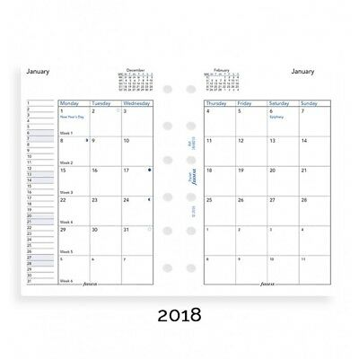 Filofax Month on Two Pages English 2018 Pocket Size Calendar Refill (6821018)