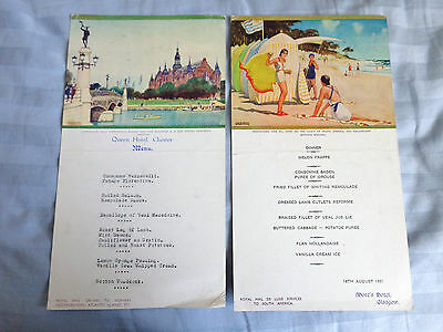 2 Vintage Restaurant DINNER Menu's 1937 - QUEEN HOTEL - MORE'S HOTEL - ART