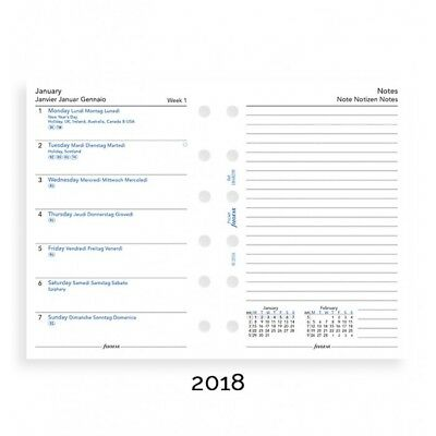 Filofax Week on a Page with Notes 4 Languages 2018 Pocket Size Calendar Refill