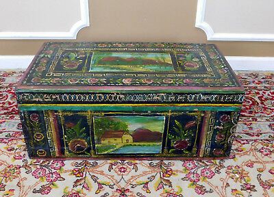 Antique Mexican Lacquer Painted Baul Decorative Trunk Signed Carmen Amigon