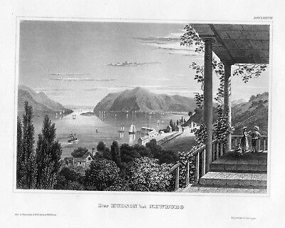 1840 - Newburgh Hudson River Orange County New York America engraving Stahlstich
