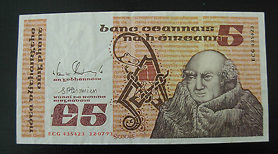 Ireland 1991 5 Pounds Note P71e