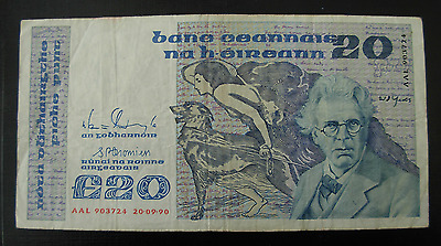 Ireland 1990 20 Pounds Note P73c
