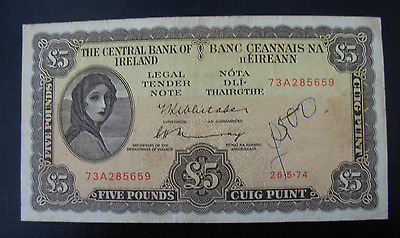Ireland 1974 5 Pounds Note P65c