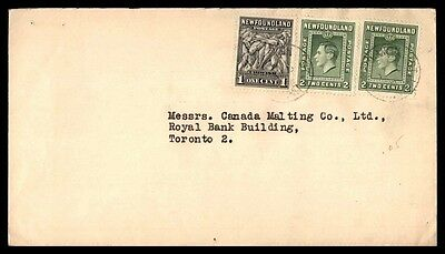 Canada Newfoundland to Toronto 5c Cover Canada Malting co