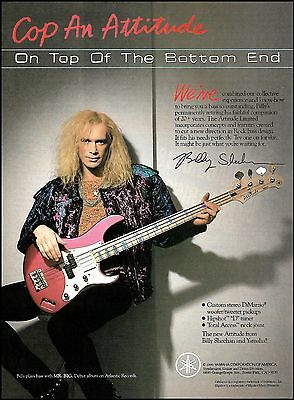 Billy Sheehan (Mr. Big) 1990 Yamaha Attitude Bass guitar ad 8 x 11 advertisement