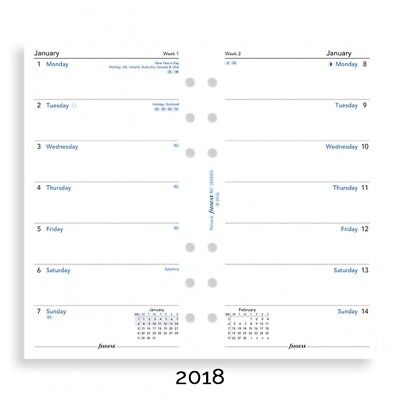 Filofax Week per Page English 2018 Personal / Compact Size Calendar Refill
