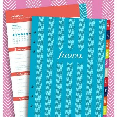 Filofax Week to View Illustrated Stripes 5 Languages 2018 A5 Calendar Refill