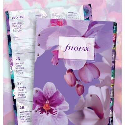 Filofax Week to View Illustrated Floral 5 Languages 2018 A5 Size Calendar Refill
