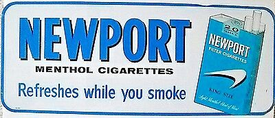 "Vintage Newport Cigarettes 30"" Tin Sign * Great Color"