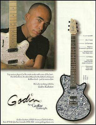 Carl Burnett 1999 Godin Chambered Silver Maple Leaf Body Radiator 8 x 11 ad