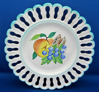 Majolica Pottery Plate Perugia Italy Cut Work Pierced HP Center Fruit Green