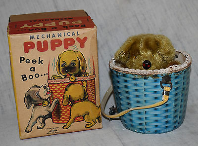 Vintage Alps Peek a Boo Mechanical Windup Puppy Dog in Original Box