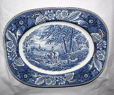 blue transferware PLATTER England Wood WOODLAND horse farm dog woman farmer