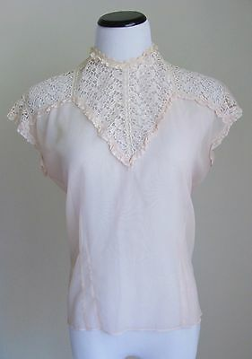 Vintage 1940's/50's Sheer Pink Nylon & Lace Blouse by by Jami