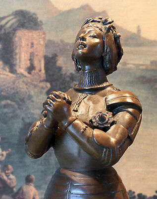 Joan of Arc French Catholic Saint Praying Heroine Bronze Marble Statue Artwork