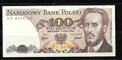 POLAND #143b 1976 VF CIRC OLD 100 ZLOTYCH BANKNOTE PAPER MONEY CURRENCY NOTE