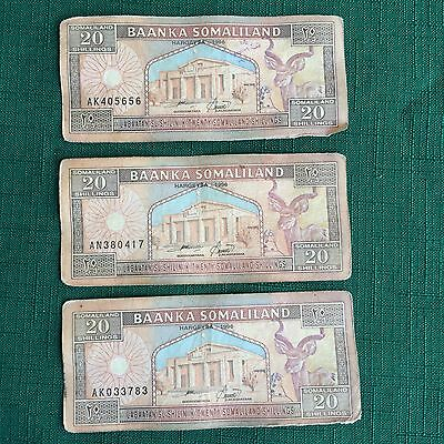 Three Somaliland Bank Notes 20 Shillings/ Collect or use for Teaching/ Crafts