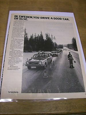 Original 1972 Volvo Magazine Ad - In Sweden, You Drive A Good Car. Or Else