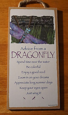ADVICE FROM A DRAGONFLY Spend Time Near Lake River Cabin Home Decor Sign NEW